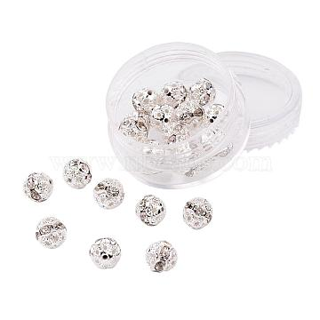 Brass Rhinestone Beads, Grade A, Silver Color Plated, Round, Crystal, 8mm, Hole: 1mm, 20pcs/box(RB-JP0001-8mm-01S)
