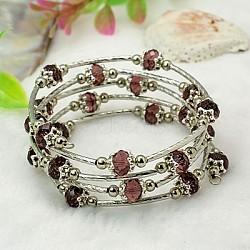 Bracelets enroulés à la mode, avec des perles de verre rondelles, Coupelles de style tibétain , laiton perles de tubes et de fils d'acier de la mémoire, violet, diamètre intérieur: 55 mm(BJEW-JB00628-02)