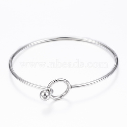 304 Stainless Steel Bangle, End with Immovable Round Beads, Stainless Steel Color, 2-3/8 inches(6~6.5cm)(X-BJEW-H530-01P)