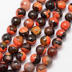 Natural Fire Agate Bead Strands, Round, Grade A, Faceted, Dyed & Heated, DarkOrange, 12mm, Hole: 1mm; about 32pcs/strand, 15inches