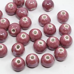 Nacrées palevioletred perles rondes à la main en porcelaine, 12mm, Trou: 2mm(X-PORC-D001-12mm-06)