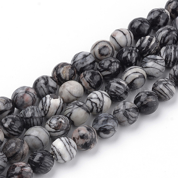 Natural Black Silk Stone/Netstone Beads Strands, Faceted, Round, 10~10.5mm, Hole: 1.2mm; about 36pcs/strand, 15.5inches(G-Q462-103-10mm)