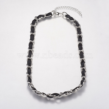 Iron Double Link Chain Necklaces, with Ribbon, Alloy Lobster Claw Clasps and Iron End Chains, Black, Platinum, 20inches(NJEW-J023-14P)