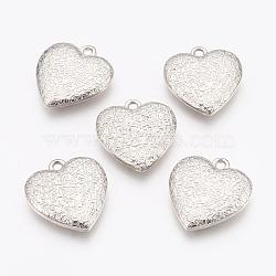 Пластмассовые подвески ccb, Сердце со цветками , платина, 32.5x30x7 мм, отверстие : 3 мм(CCB-G006-120P)