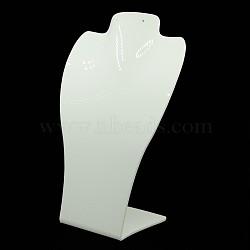 Verre organique affichage de collier buste, blanc, 140x75x235mm(NDIS-E007-8A)