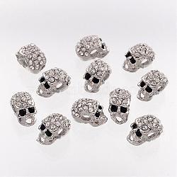 Alloy Rhinestone Beads, Halloween, Skull, Platinum Color, 13x7.5x9mm, Hole: 3mm(ALRI-Q382-1)