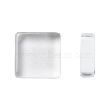 10MM Square Flat Back Transparent Clear Glass Cabochons, Tile Seals for Photo Jewelry, 10x10mm, 4mm(Range: 3.5~4.5mm) thick(X-GGLA-S013-1)