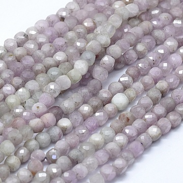 Natural Kunzite Beads Strands, Faceted, Square, 4.5x4.5x4.5mm, Hole: 0.8mm, about 80pcs/strand, 15.15 inches(38.5cm)(G-D0013-43)