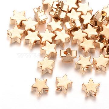 Brass Beads, Star, Light Gold, 5.5x6x2.5mm, Hole: 1mm(X-KK-R037-150KC)