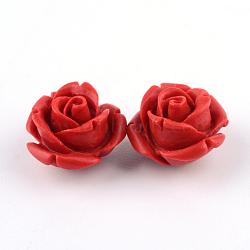 Cinnabar Beads, Rose, FireBrick, 10x10x8mm, Hole: 1.5mm(CARL-Q004-74A)