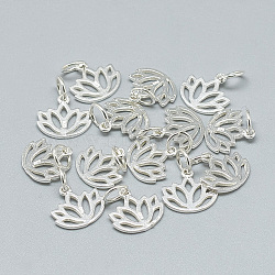 925 Sterling Silver Charms, with Jump Ring, Carved 925, Lotus, Silver, 10.5x11x1mm, Hole: 4mm(X-STER-T002-277S)
