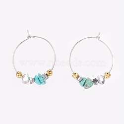 Chip Synthetic Turquoise, Faceted Glass Wine Glass Charms, with Brass Hoops and Sterling Silver Spacer Beads, 32mm; Pin: 0.6mm(EJEW-JE02746-04)