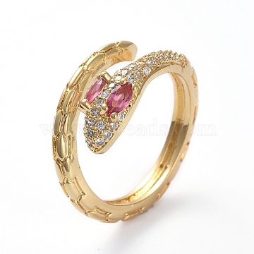 Adjustable Brass Cuff Finger Rings, with Micro Pave Cubic Zirconia, Snake, Golden, Hot Pink & Clear, Size 7, 17mm(X-RJEW-G096-12G-B)