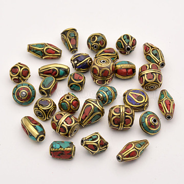 Handmade Tibetan Style Beads, Brass with Synthetic Coral and Turquoise, Antique Golden, 8~25x8~13mm, Hole: 1~1.5mm(TIBEB-G001-M2)