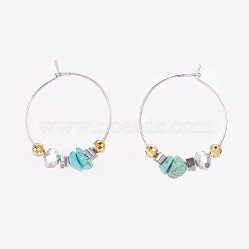 Chip Synthetic Turquoise, Faceted Glass Wine Glass Charms, with Brass Hoops and 925 Sterling Silver Spacer Beads, 32mm, Pin: 0.6mm(EJEW-JE02746-04)