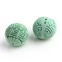 Handmade Cinnabar Beads, Carved Lacquerware, Round, Aquamarine, 24x22mm, Hole: 2mm(X-CARL-R002-22mm-03)