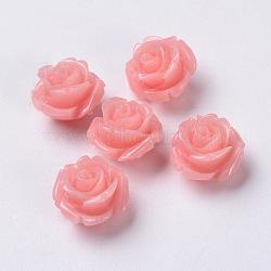 Perles de corail synthétiques, fleur, agréable pour les bijoux DIY faisant, teint, rose, environ 11 mm de large, Longueur 11mm, épaisseur de 8mm, Trou: 0.5mm(X-DC77-8)