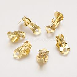 Bagues d'oreilles unies en laiton, sans nickel, or, environ 9.5 mm de large, Longueur 18.5mm, hauteur de 8 mm , Trou: 3.3mm(X-KK-H168-G-NF)