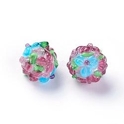Fait main perles au chalumeau cahoteuses, rond, oldrose, 12~13mm, Trou: 1.5~1.6mm(LAMP-E021-06E)