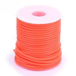 Tuyau creux corde en caoutchouc synthétique tubulaire pvc, enroulé aurond de plastique blanc bobine, orange rouge , 4mm, trou: 2 mm; environ 15 m / rouleau(RCOR-R007-4mm-04)
