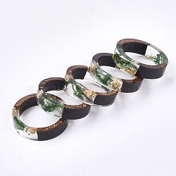 кольца из эпоксидной смолы и черного дерева, с сухой травой, Золотая фольга, зеленый, 16 mm(RJEW-S043-03A-02)
