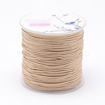 Nylon Threads, Wheat, 1mm, about 109.3yards/roll(100m/roll)(NWIR-N004-03J-1mm)