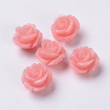 11mm Pink Flower Synthetic Coral Beads