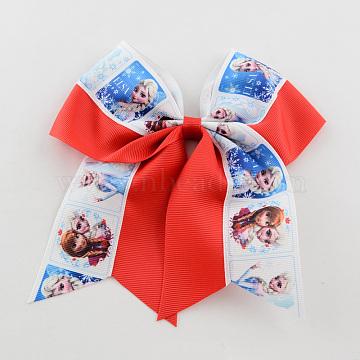 Girls' Kawaii Hair Accessories Bowknot Elastic Hair Ties, with Printed Grosgrain Ribbon, Red, 46mm(OHAR-R218-05)