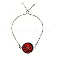 """Bracelets réglables en alliage de zinc et verre, avec des chaînes de fer, plat rond avec motif de crâne, rouge, 9"""" (23 cm)(BJEW-P250-SE035)"""