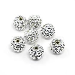 Бусины со стразами из смолы, круглые, серебряные, 14x12 мм, отверстие : 2 мм(RESI-S260-14mm-S2)