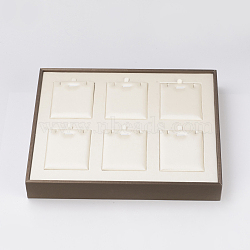 PU Leather Jewelry Pendant and Necklace Displays, with Board, Rectangle, White, 30.2x25x4cm(ODIS-G013-05)