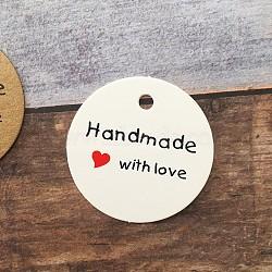 affichage de bijoux étiquettes de prix de papier kraft, rond avec mot fait main avec amour, blanc, 45x0.4 mm, trou: 4.5 mm; environ 50 PCs / sachet (CDIS-WH0009-02B)