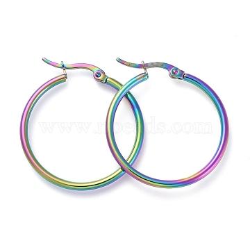 304 Stainless Steel Hoop Earrings, Hypoallergenic Earrings, Ring Shape, Rainbow, Multi-color, 12 Gauge, 30x2mm, Pin: 0.7x1mm(X-EJEW-G260-02A-M)
