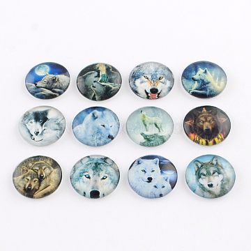 Half Round/Dome Wolf Pattern Glass Flatback Cabochons for DIY Projects, Mixed Color, 25x6mm(X-GGLA-Q037-25mm-28)