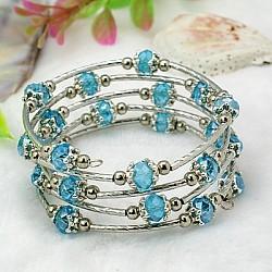Bracelets enroulés à la mode, avec des perles de verre rondelles, Coupelles de style tibétain , laiton perles de tubes et de fils d'acier de la mémoire, bleu foncé, diamètre intérieur: 55 mm(BJEW-JB00628-07)