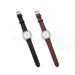 Wristwatch, Quartz Watch, Alloy Watch Head and PU Leather Strap, Mixed Color, 9-3/8 inches(23.9cm); 16.5x2.5mm; Watch Head: 36.5x35x8mm(WACH-I017-03)