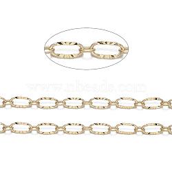 chaînes croisées en laiton, soudé, réel 18 k plaqué or, 6.2x3.3x0.5 mm(CHC-S004-07G)