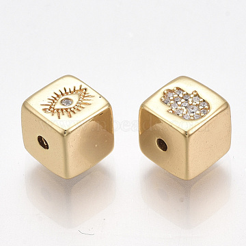 Brass Beads, with Micro Pave Cubic Zirconia, Nickel Free, Real 18K Gold Plated, Cube with Eye and Hamsa Hand/Hand of Fatima/Hand of Miriam, Clear, 7x7x7mm, Hole: 1.5mm(X-KK-T038-500G)