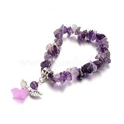 """Bracelets améthyste naturelle d'enfants, avec perle acrylique et les accessoires en alliage d'argent antique, 1-1/2"""" (3.9 cm)(X-BJEW-JB02062-04)"""