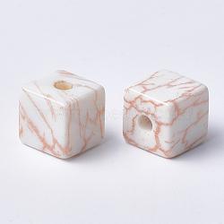 Perles acryliques imprimées, cube, peachpuff, 12x12x12mm, Trou: 3.5mm(X-MACR-T024-63B)