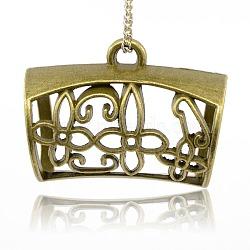 Liens de suspension en alliage, perles écharpe en liberté sous caution, tube avec motif de fleur, sans nickel, 25x32x19 mm, trou: 4.5 mm, diamètre intérieur: 15 mm(PALLOY-J080-05AB-NF)