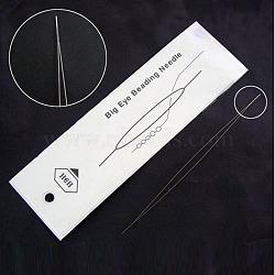 Stainless Steel Big Eye Beading Needles, Seed Bead Needle, Stainless Steel Color, 75x0.3mm(X-ES001Y-01)