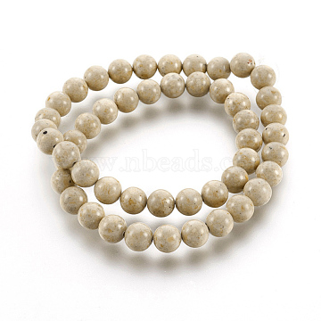 8mm AntiqueWhite Round Fossil Beads