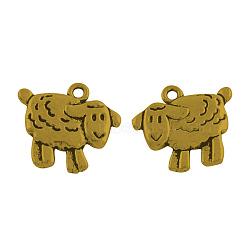 Pendentifs de moutons en alliage de style tibétain, Sans cadmium & sans nickel & sans plomb, Or antique, 17x18x3mm, trou: 2 mm; environ 429 pcs / 1000 g(TIBEP-36577-AG-NR)
