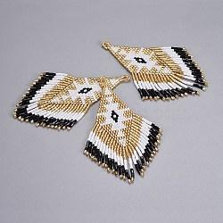 Perles de rocaille japonaises faites main pendentifs, avec fil d'importation japon, motif de tissage, losange, blanc, 87~89x26x2mm, Trou: 1.5mm(X-SEED-P003-03B)