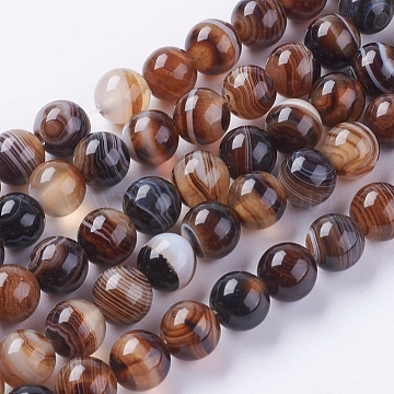 8mm Camel Round Banded Agate Beads