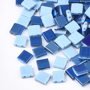 Electroplate Opaque Glass Seed Beads, 2-Hole, Rectangle, Light Sky Blue, 5x4.5~5.5x2~2.5mm, Hole: 0.5~0.8mm(X-SEED-S023-18C-03E)