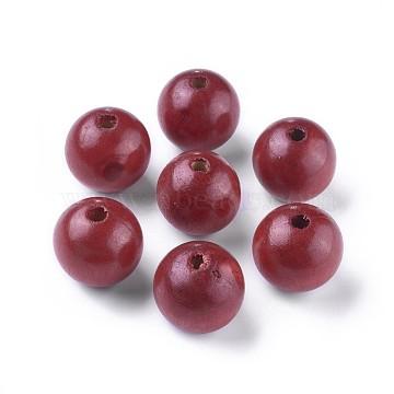 24mm Red Round Wood Beads