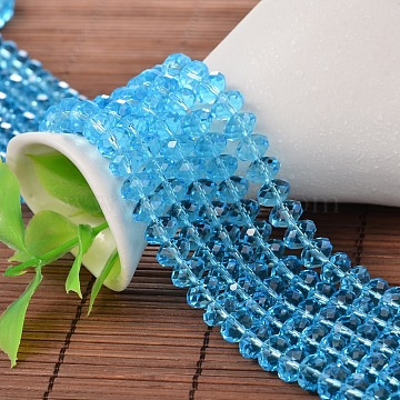 PandaHall Elite Faceted Rondelle Imitation Austrian Crystal Glass Bead Strands, Grade AAA, Deep Sky Blue, 6x4mm, Hole: 1mm; about 50pcs/strand(G-PH0009-10-6x4mm)