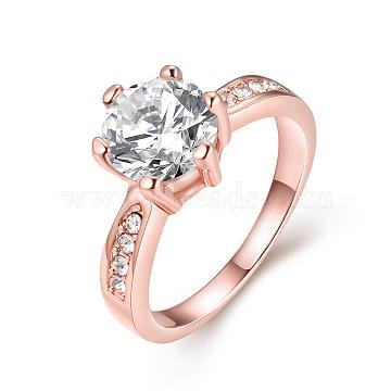 Exquisite Engagement Rings Brass Czech Rhinestone Finger Rings for Women, Rose Gold, Size 7, 17.3mm(RJEW-BB02141-7)